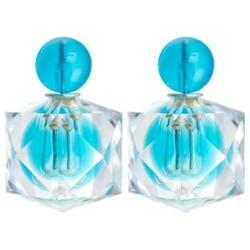 Fako Bijoux® - Oorbellen - Double Dots - Clear Blok - Lichtblauw