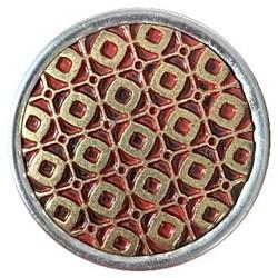 Fako Bijoux® - Click Button - Metaal - Patroon - Goud/Rood