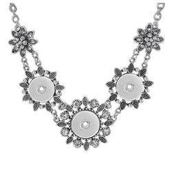 Fako Bijoux® - Ketting Voor Click Buttons - Deluxe - Bloemen Strass