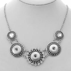 Fako Bijoux® - Ketting Voor Click Buttons - Exclusive - Zilverkleurig/Zwart