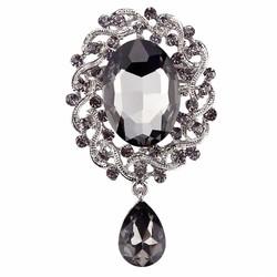 Fako Bijoux® - Broche - Geslepen Glas - Grijs - 41x70mm - Zilverkleurig