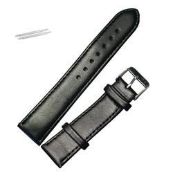 Fako® - Horlogebandje - Echt Leer - Soft - 20mm - Zwart