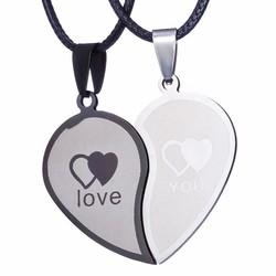 Fako Bijoux® - Vriendschapsketting - RVS - Hart - Love You - Zwart