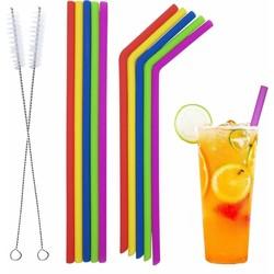 Fako Bijoux® -  Siliconen Rietjes  - Herbruikbaar - Gekleurd - 10 Stuks + 2 Schoonmaakborstels