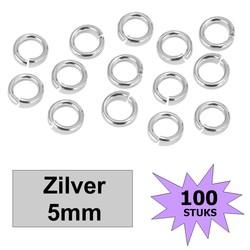 Fako Bijoux® - Oogjes - Ringetjes - Sieraden Maken - Zilverkleurig - 5mm - 100 Stuks