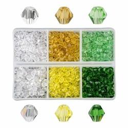 Fako Bijoux® - DIY Kralen Set - Glas Kralen Facet Geslepen - Sieraden Maken - 4mm - 600 Stuks - Limoen