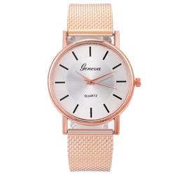 Fako® - Horloge - Geneva - Mesh Look - Rosé Goudkleurig