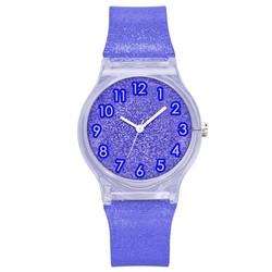 Fako® - Kinderhorloge - Shiny Glitter - Plastic - Ø 34mm - Donkerblauw