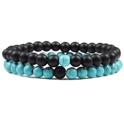 Fako Bijoux® - Dubbele Kralen Armband - 6mm - Twee Natuursteen Armbanden - Turquoise & Zwart