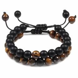 Fako Bijoux® - Dubbele Kralen Armband - Natuursteen Armband Koord - Tijgeroog & Zwart