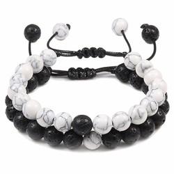 Fako Bijoux® - Dubbele Kralen Armband - Natuursteen Armband Koord - Wit Marmer & Lavasteen