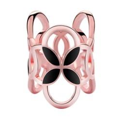 Fako Bijoux® - Sjaalklem - Tube - Zwart - 22x26mm - Rosé Goudkleurig