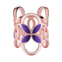 Fako Bijoux® - Sjaalklem - Tube - Paars - 22x26mm - Rosé Goudkleurig