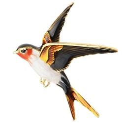 Fako Bijoux® - Broche - Vogel - Zwaluw - 50x56mm - Oranje Kop