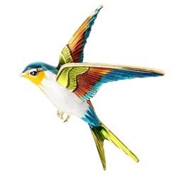 Fako Bijoux® - Broche - Vogel - Zwaluw - 50x56mm - Gele Kop