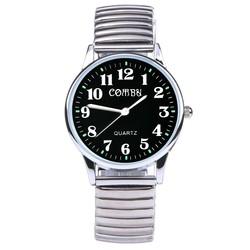 Fako® - Horloge - Rekband - Comby - Ø 36mm - Zwart