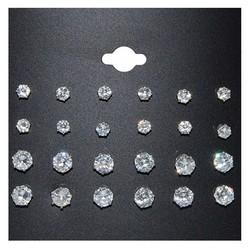 Fako Bijoux® - Oorbellen - Steker - Zirkonia - 4 & 6 mm - Transparant - 12 Paar