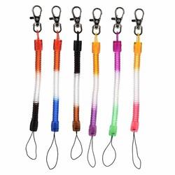 Fako Bijoux® - Sleutelhanger Spiraal - Uittrekbaar - Verend - 20cm - Regenboog