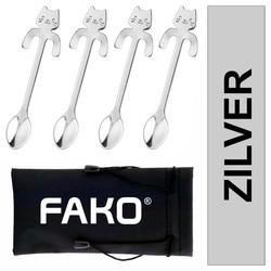 Fako Bijoux® - Theelepel / Koffielepel Hangende Kat - Zilver - 4 Stuks