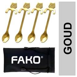 Fako Bijoux® - Theelepel / Koffielepel Hangende Kat - Goud - 4 Stuks