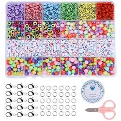 Fako Bijoux® - Letterkralen Set - Letter Beads - Alfabet Kralen - Sieraden Maken - 1000 Stuks - Emoji & Hartjes Mix