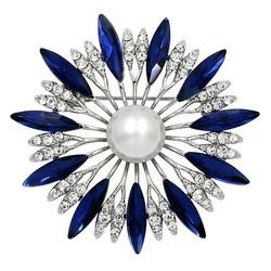 Fako Bijoux® - Broche - Bloem - Ster - Kristal - Blauw - Ø 50mm - Zilverkleurig
