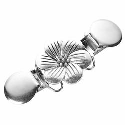 Fako Bijoux® - Vestsluiting - Vestclip - Bloem - Zilverkleurig