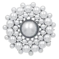 Fako Bijoux® - Broche - Parel - Joyce - 44x44mm - Zilverkleurig