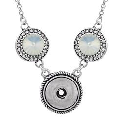 Fako Bijoux® - Ketting Voor Click Buttons - Exclusive - Kristal Zilverkleurig