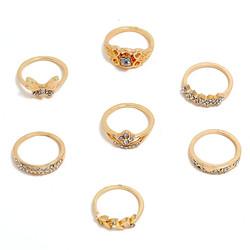Fako Bijoux® - Bohemian Stijl Ringenset - Enya - 7-Delig - Goudkleurig