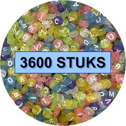 Fako Bijoux® - Letterkralen - Letter Beads - Alfabet Kralen - Sieraden Maken - 3600 Stuks - Transparant Spring