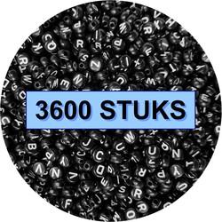 Fako Bijoux® - Letterkralen - Letter Beads - Alfabet Kralen - Sieraden Maken - 3600 Stuks - Zwart
