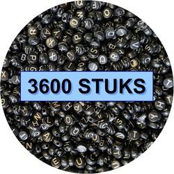 Fako Bijoux® - Letterkralen - Letter Beads - Alfabet Kralen - Sieraden Maken - 3600 Stuks - Zwart/Zilver