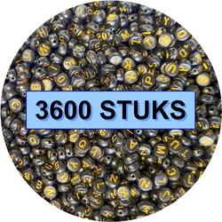 Fako Bijoux® - Letterkralen - Letter Beads - Alfabet Kralen - Sieraden Maken - 3600 Stuks - Zwart/Goud