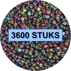 Fako Bijoux® - Letterkralen - Letter Beads - Alfabet Kralen - Sieraden Maken - 3600 Stuks - Zwart/Fluor