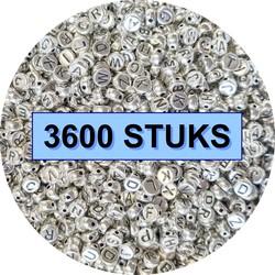 Fako Bijoux® - Letterkralen - Letter Beads - Alfabet Kralen - Sieraden Maken - 3600 Stuks - Zilver