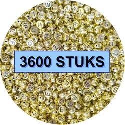 Fako Bijoux® - Letterkralen - Letter Beads - Alfabet Kralen - Sieraden Maken - 3600 Stuks - Goud