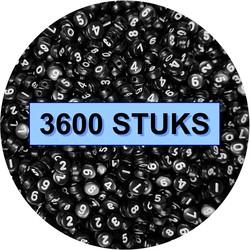 Fako Bijoux® - Cijferkralen  - Number Beads - Acryl Kralen - Sieraden Maken - 250 Stuks - Zwart - Copy