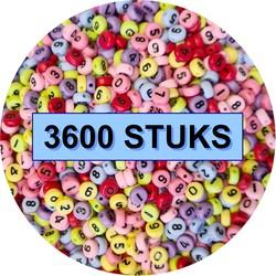 Fako Bijoux® - Cijferkralen  - Number Beads - Acryl Kralen - Sieraden Maken - 3600 Stuks - Mix