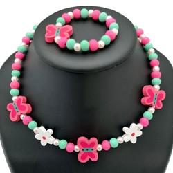Fako Bijoux® - Kinderketting en Armband - Hout - Vlinders & Bloemetjes