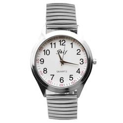 Fako® - Horloge - Rekband - Jhlf - Ø 40mm - Zilverkleurig - Wit