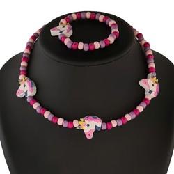 Fako Bijoux® - Kinderketting en Armband - Hout - Eenhoorn Roze/Paars
