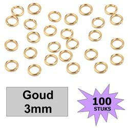 Fako Bijoux® - Oogjes - Ringetjes - Sieraden Maken - Goudkleurig - 3mm - 100 Stuks