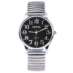 Fako® - Horloge - Rekband - Comby Classic - Ø 36mm - Zwart