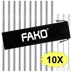 Fako Bijoux® - RVS Rietjes - 10 Stuks - Recht - 21 cm - 3 Schoonmaakborsteltjes