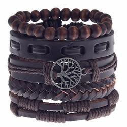 Fako Bijoux® - Armband - Leder - Set Vintage Kralen - Levensboom