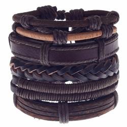 Fako Bijoux® - Armband - Leder - Set Vintage - Gevlochten