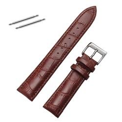 Fako® - Horlogebandje - Echt Leer - 20mm - Croco - Bruin