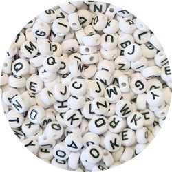 Fako Bijoux® - Letterkralen - Letter Beads - Alfabet Kralen - Sieraden Maken - 300 Stuks - Wit