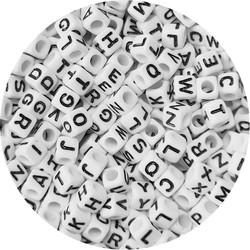 Fako Bijoux® - Letterkralen Vierkant - Letter Beads - Alfabet Kralen - Sieraden Maken - 300 Stuks - Wit